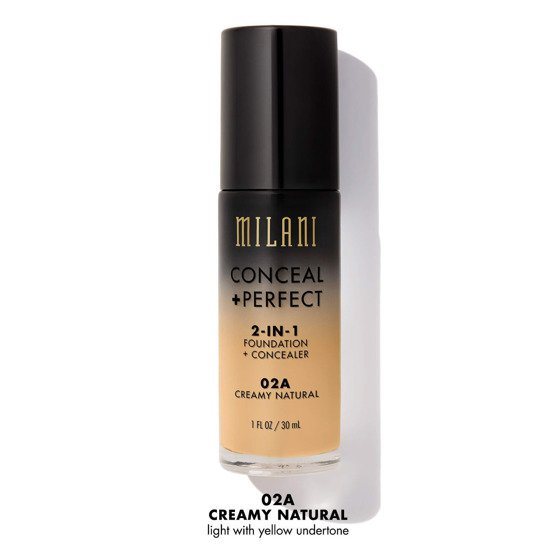 Milani CONCEAL + PERFECT 2-IN-1 FOUNDATION + CONCEALER Podkład kryjący 02A Creamy Natural